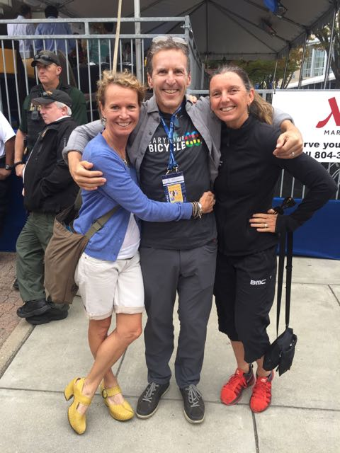 Davis Phinney, who is here supporting his son Taylor, with Suzette and Trudi at the finish.