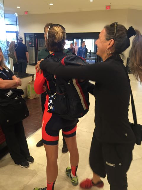 Trudi giving Kristin a hug after the race. She needed it.