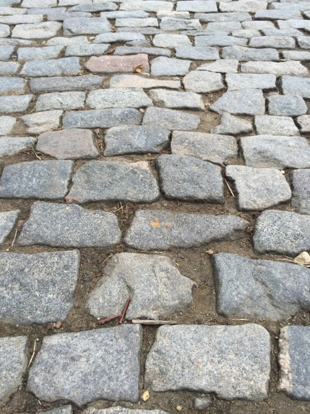 They are real cobbles, so rain will make them challenging.