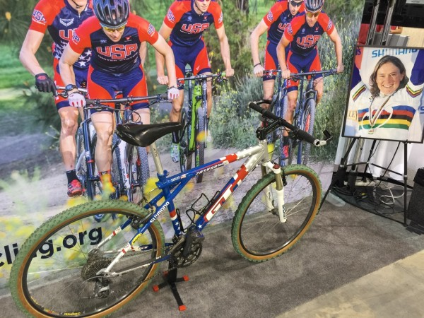 The USA Cycling booth in the Fan Fest has Allison Dunlap's bike displayed. I liked that.