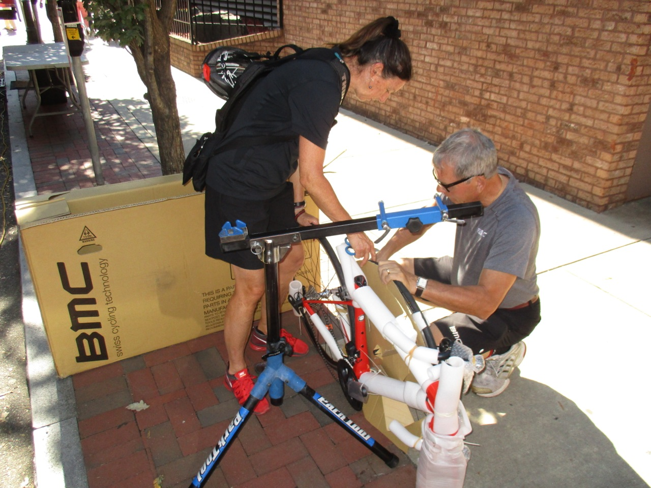 Trudi got a new road bike from BMC. Looks like Andrej Bek is helping her assemble it.