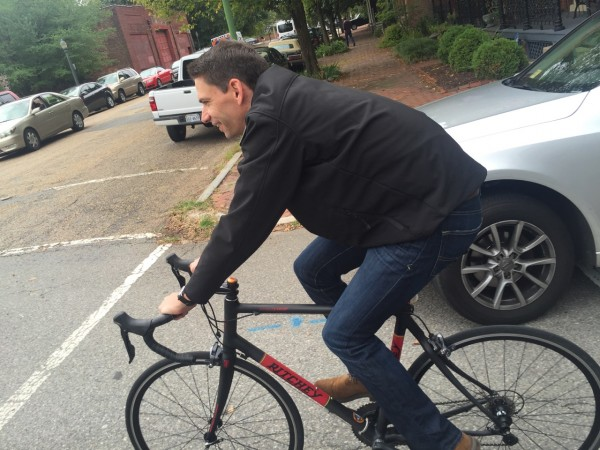 CEO of USAC riding across town on a carbon Ritchey Breakaway bike.