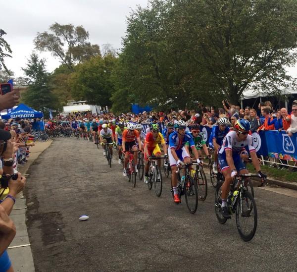 Peter Sagan on Libby Hill mid race.