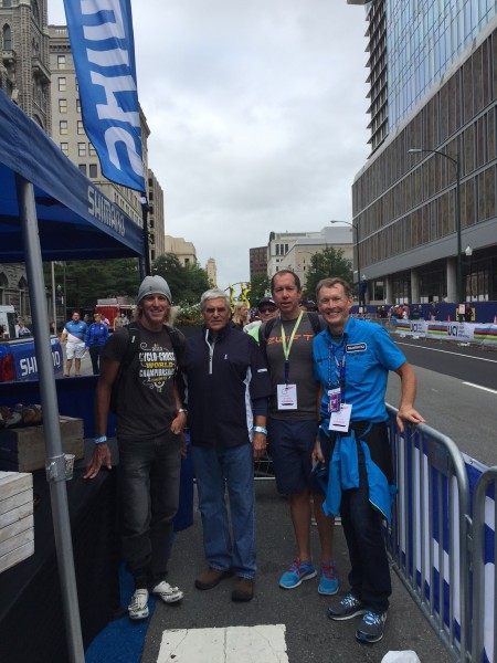 This is me, General George Casey, Mike McCarthey and Wayne Stetina. I know Mike and Wayne, but not General Casey. He is an avid cyclist and does the Ride to Recovery events with Wayne.