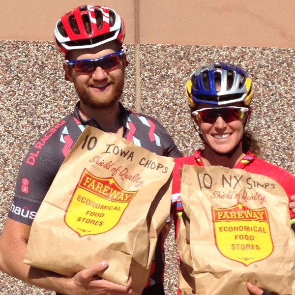 Here is a picture of Pat and Gwen, with their prizes for winning the Filthy 50 gravel race last weekend. Pretty great prizes, meat.