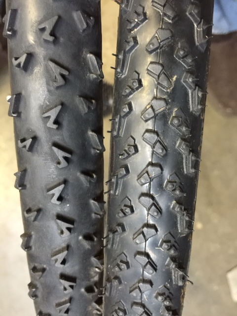 These are both FMB tires.  The left is their mud tread and the right is some Michelin Mud tread I sent to FMB and were made custom.  I have a few more of these and they work about as good as any tires I've ridden.