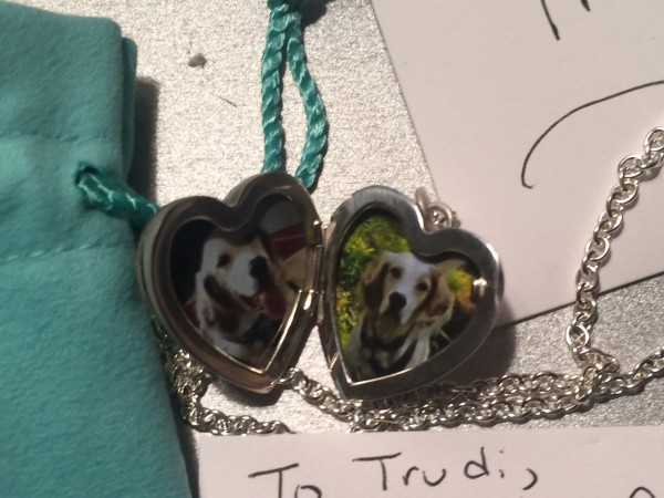 Stacie gave Trudi a Tiffany charm necklace with Bromont's picture in it.  So nice.