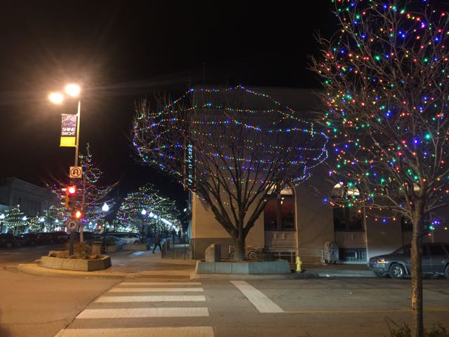 Downtown Lawrence at night.
