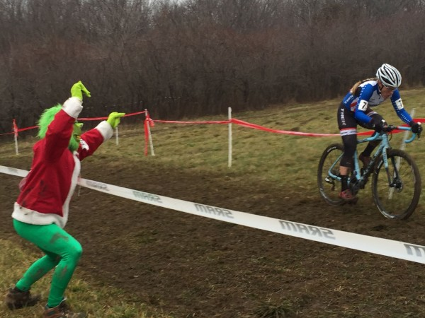The Grinch was all over the course. He's cheering Katie Compton here at the top of Mt. Krumpet.