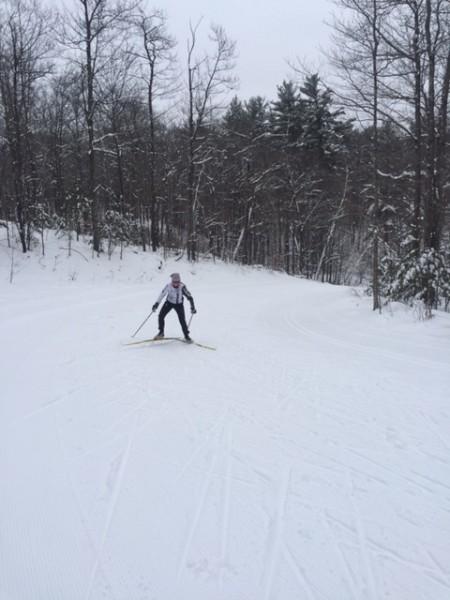 Trudi skiing.