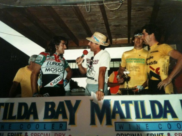I was fortunate to win a few stages of Superweek over my lifetime. I'm in yellow. Gag (Roberto) is being interviewed by Eddy. Otto obscured.