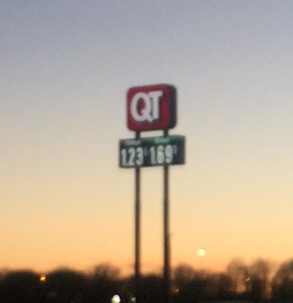Gas prices are crazy low in Missouri.  $1.23 is about 1/2 of what it cost in California.