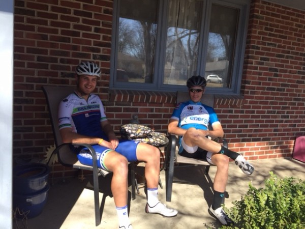 Jack Funk and Bill waiting to ride to the race.