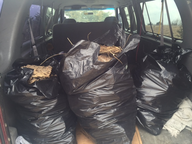 Bags of cow manure.