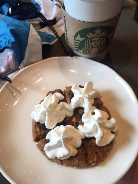 I bought a oatmeal cookie at Starbucks and the girl asked me if I wanted it warmed up with whipcream.  I said sure, figuring I needed all the calories I could get for the ride back.