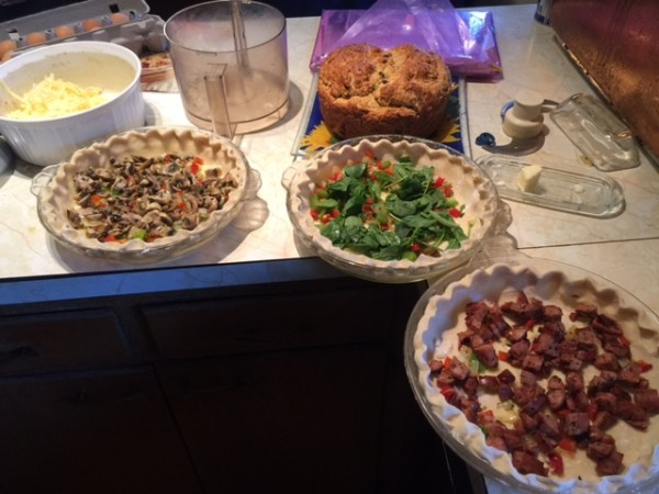 We had a few friends over for Easter dinner. Made quiche.