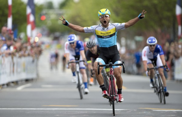 "Last year's winner Eric Marcotte. Eric became the first American to hold the Pro Road Championship and Criterium Championship concurrently. He made a pretty incredible more on the final lap to come over the top of the UHC ""blue train"" and win solo."