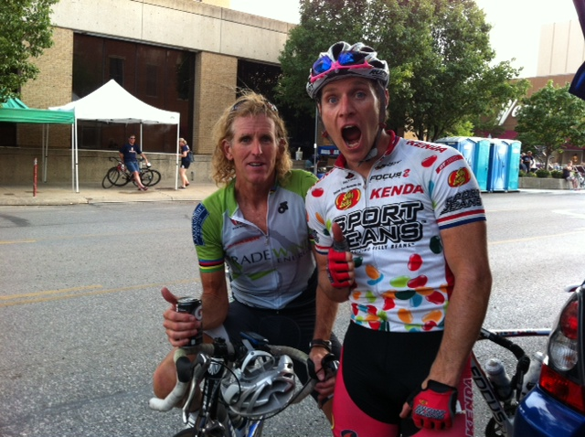 Brad and I after the Tour of Lawrence Criterium a few years ago. Sometimes Brad can come across as sort of a goofball, but his is just a nice guy having fun doing what he loves.