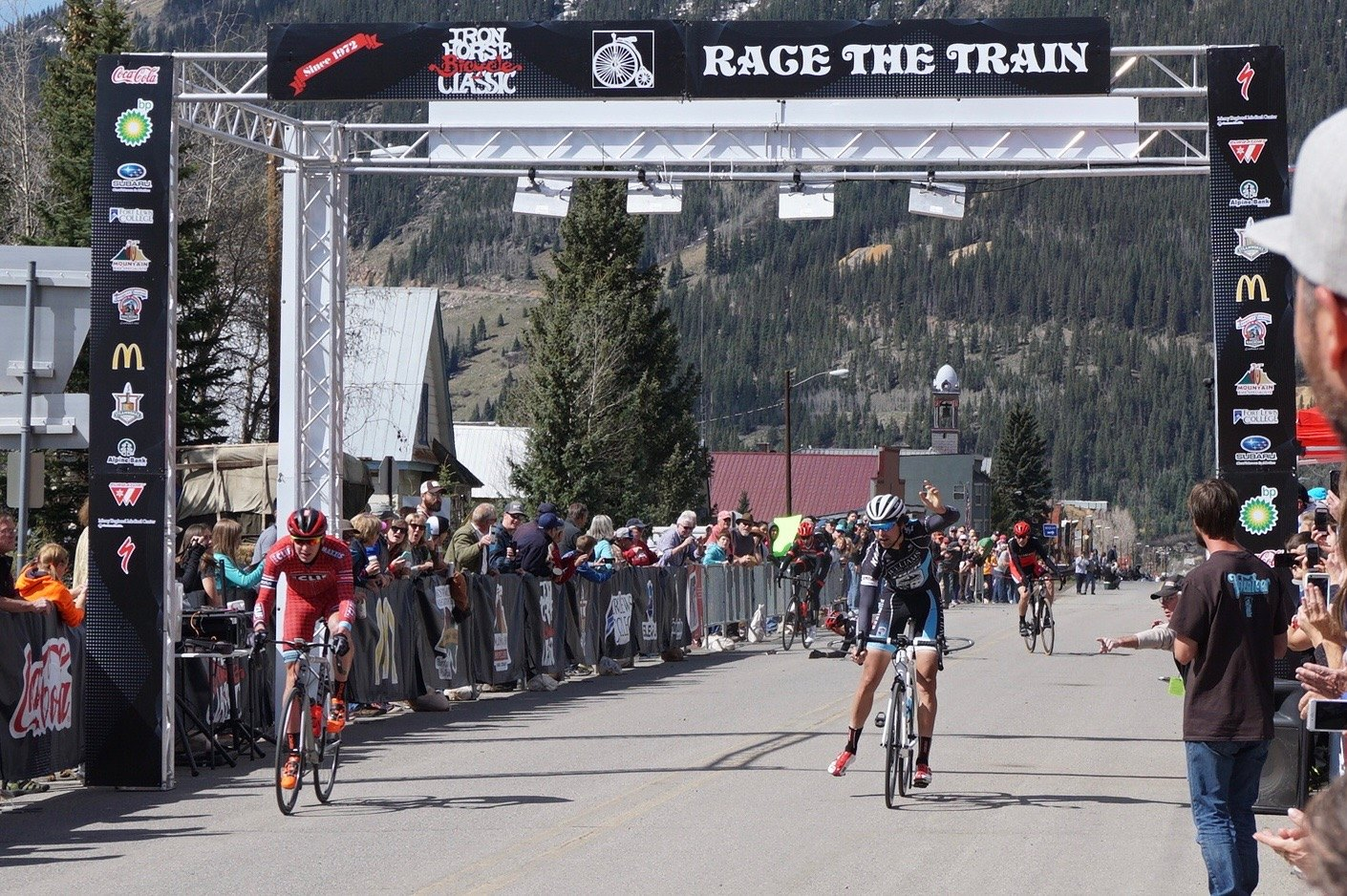 How about this photo, crash at the finish of Iron Horse yesterday. Ned is back on the right, finishing in 3rd, Todd Wells of the left in 4th. Haven't talked to anyone about it to see what happend.