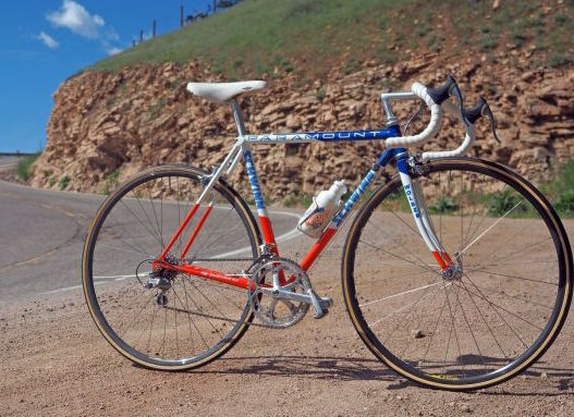 This is a photo of Alan McCormick's Schwinn Paramount. We had matching Silca pumps painted with the frames. I wonder how many of those are around anymore.
