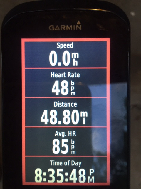 Garmin screen from yesterday's evening ride.