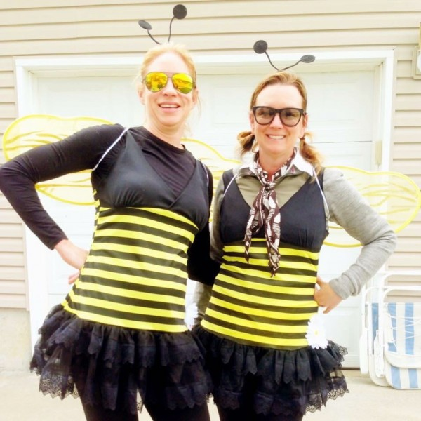 The two best dressed volunteers at the Velotek Stage race on Sunday.