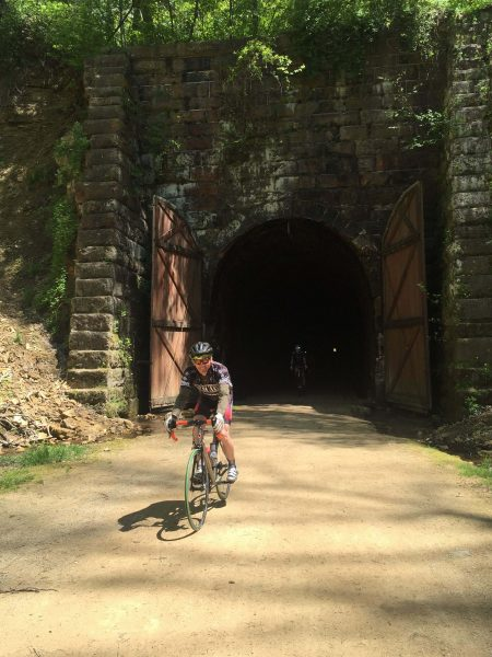 Kent riding the out of the tunnel.  He first rode this in 1971.  Pretty cool.
