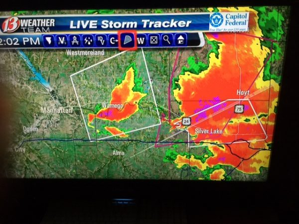 SInce the sirens were blowing, I turned on the TV to check out the situation. This was just west of Topeka. It was ugly.