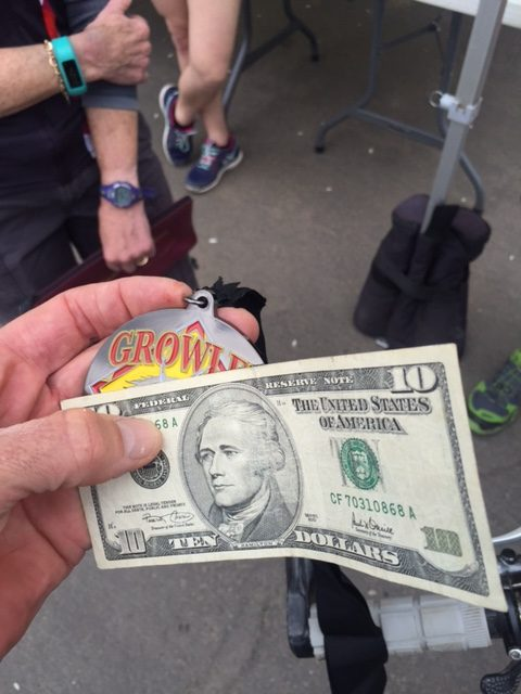 NO one has ever given me lunch money after finishing a race.