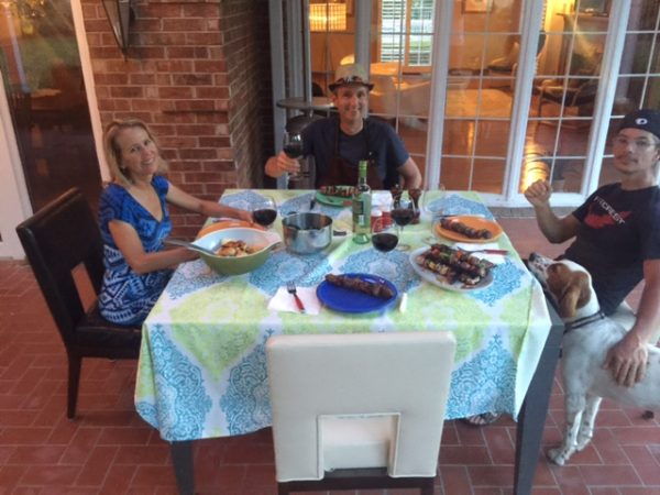 We had dinner at the Walberg's last night. It was nice sitting outside, although a bit hot.
