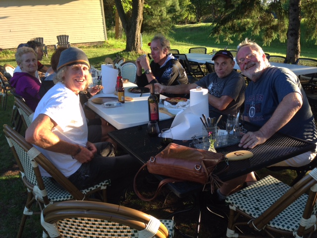 I was eating outside with Gary Crandall after the Mamas ride.