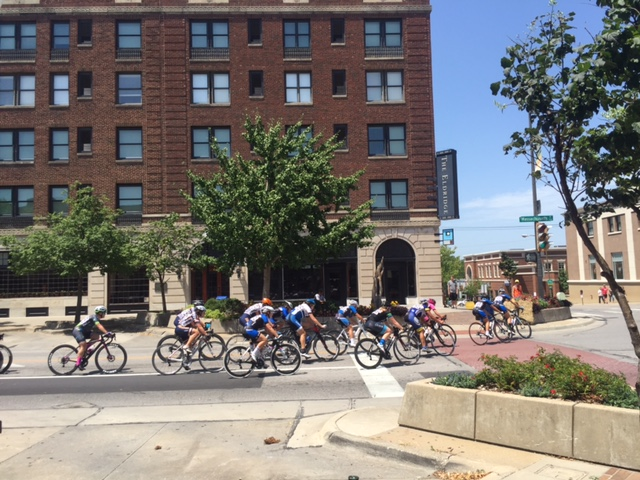 The women racing in front of the historic Eldridge Hotel in downtown Lawrence.