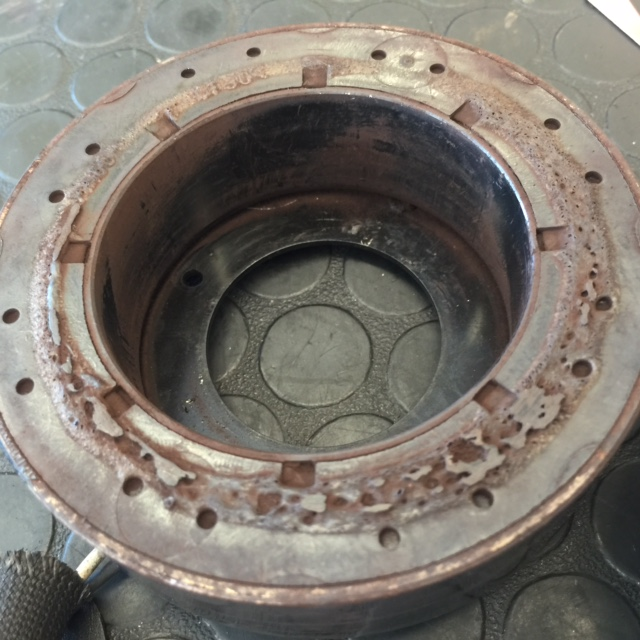 I'm not sure what happened to this AC clutch, but it melted.