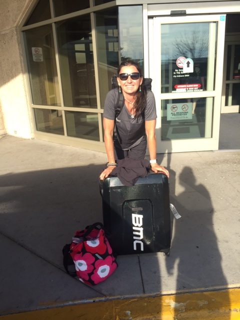 Trudi at the Kansas City airport. She flew out to Santa Rosa to get a team car to drive to Tour of Utah.