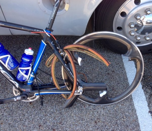 Kris' bike after he landed on his rear wheel badly.That trispoke is pretty much toast, huh?
