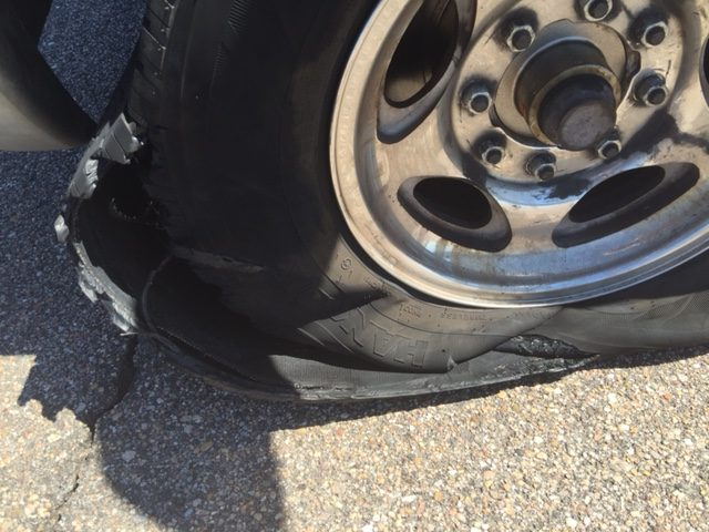 Tire when I got out of the van.