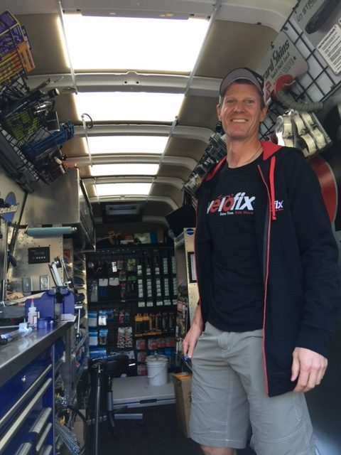 Trent Newcomer in the Velofix van. He has two of these doing repairs in the Fort Collins and Boulder area.
