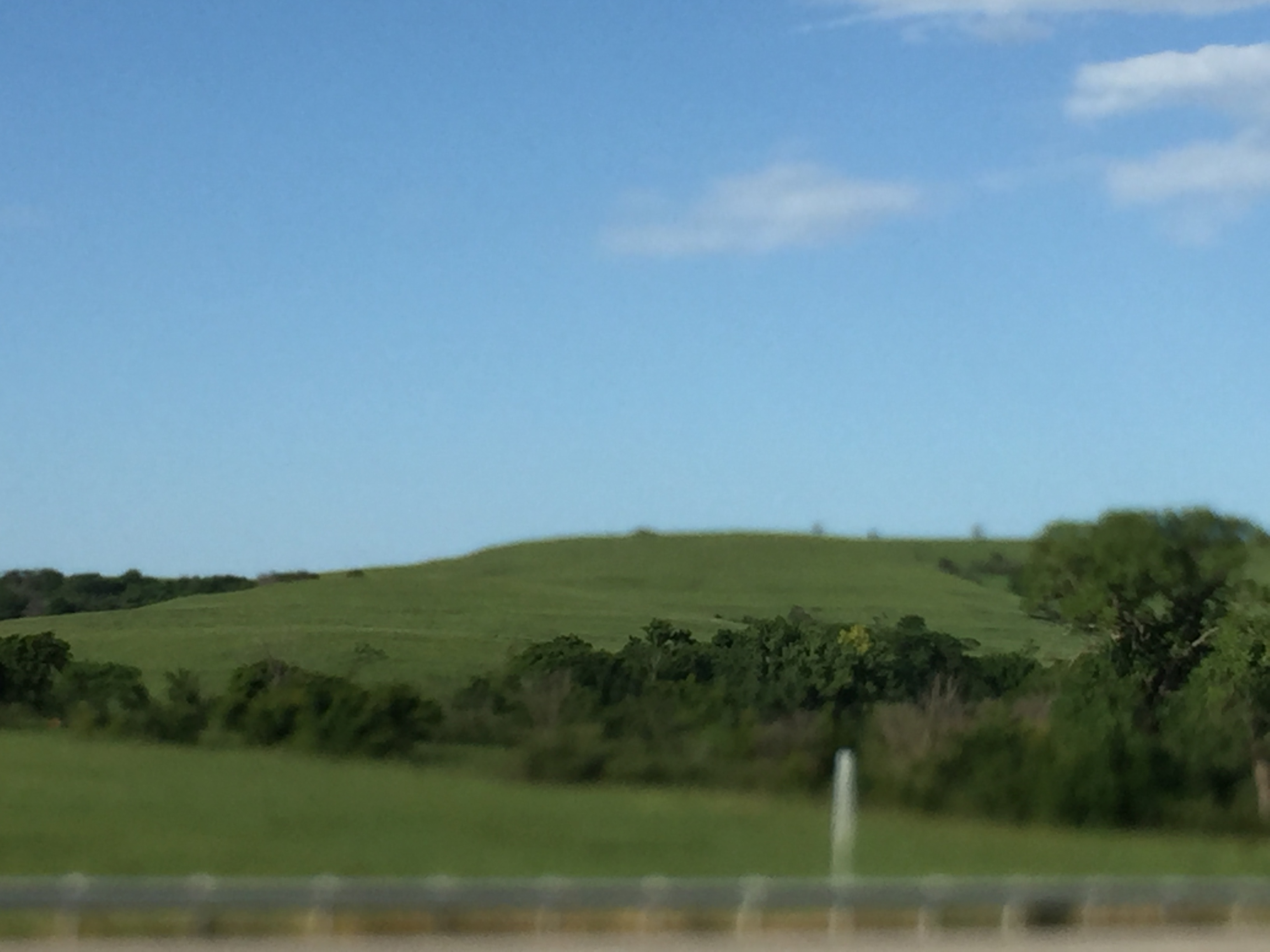 The Flint Hills are still green.