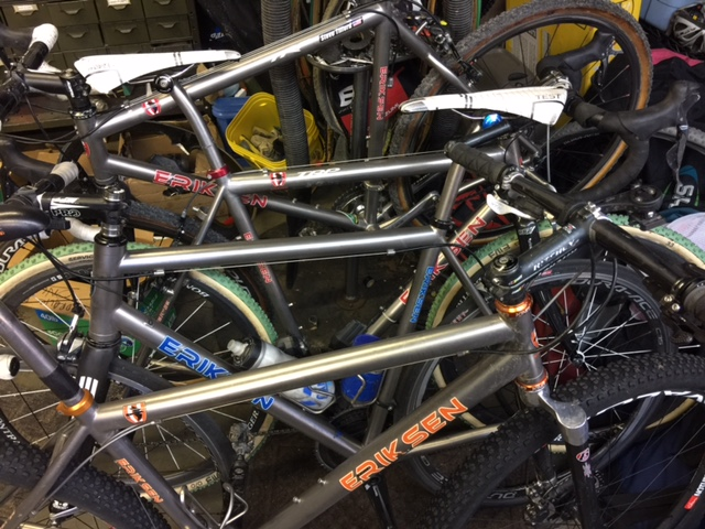 Stack of bikes in my garage. Everything is always in disarray after returning from a messy cross weekend.