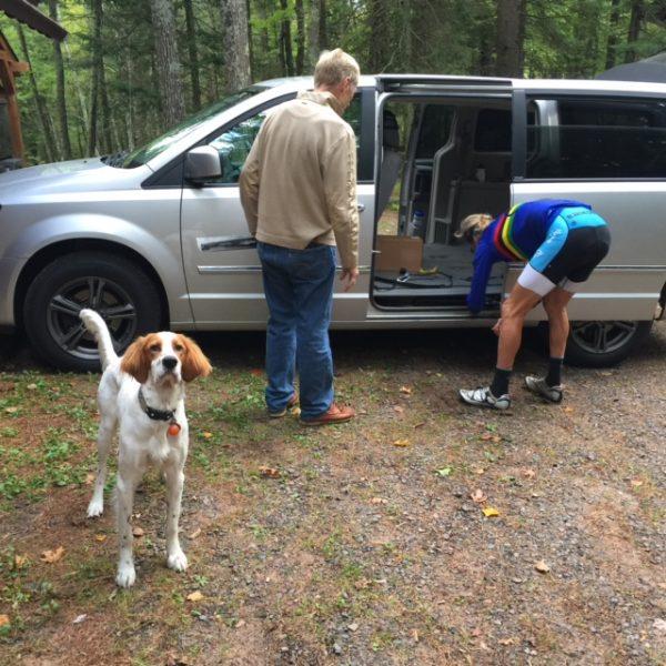 Tucker is way more interested in going for a run/swim than fixing Dennis' van door.