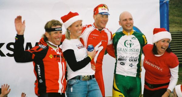 A podium with Chris Horner and Doug Swanson. I've been on the podium a ton of times, but only won once.
