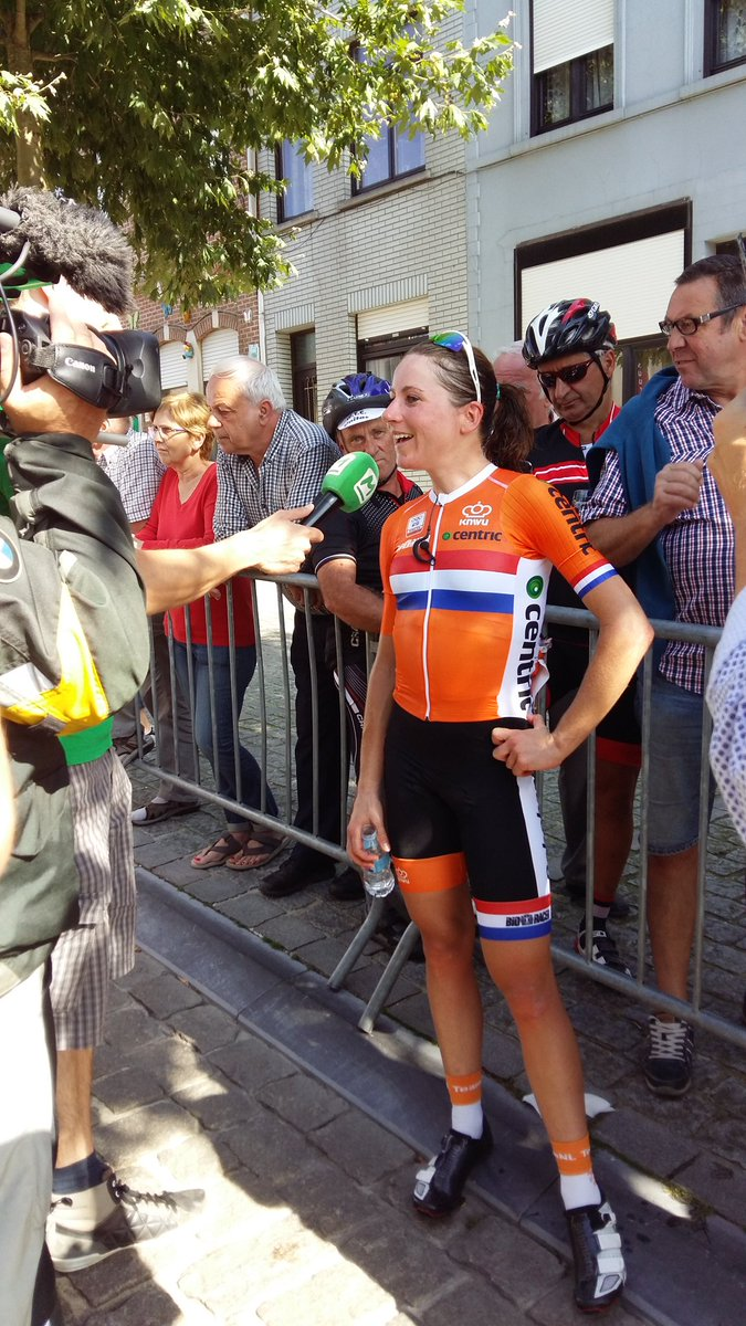 Annemiek van Vleuten after winning the Belgium Tour. She should be super happy and proud of herself.