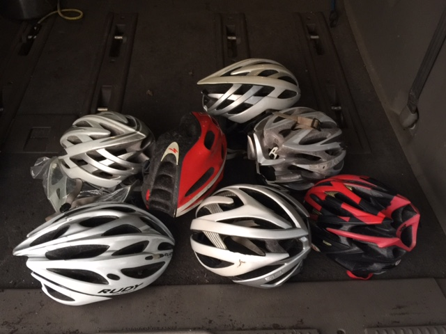 We took a bunch of old helmets over to the Bicycle Coalition last night. They can use just about anything extra cycling related.