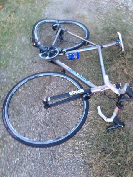 I don't have my bike, so don't know what is the matter with it. Obviously the rear wheel is not good.