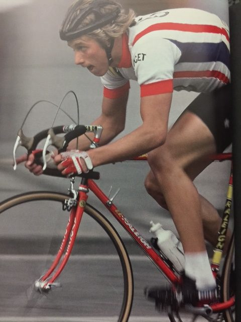 This is the first picture in the book. I'm sure, Greg got this bike from Michael Fatka. I was sponsored by Michael is this is the first bike I got from him too. Cycling was a very tight community back then.