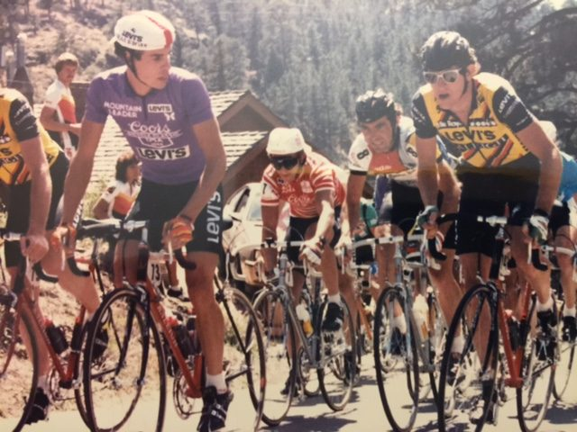 I was looking for pictures yesterday and found these. This is me and Andy (Hampsten) at the Coor's Classic. Bernard Hinault and Greg Lemond are behind/between us.