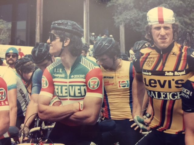 Here I am at the start of a race in Texas with Eric Heiden. Check out his arms. They still look pretty much like that.