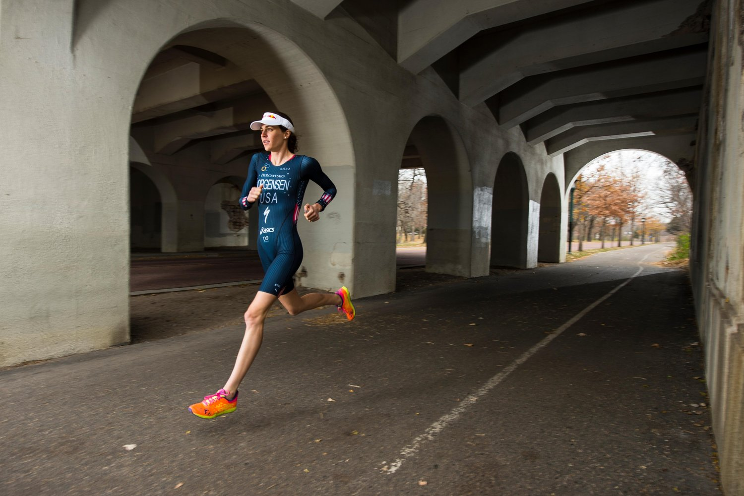 Gwen Jorgensen on a training run in Minneapolis, MN on 03 November 2014